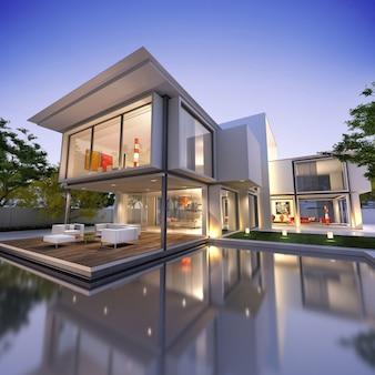 Внешний вид современного дома с бассейном в сумерках
