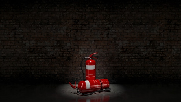 レンガの壁に固定された消火器