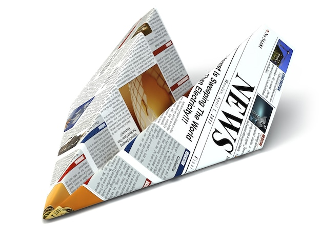 Extra news concept newspaper as paper airplane 3d