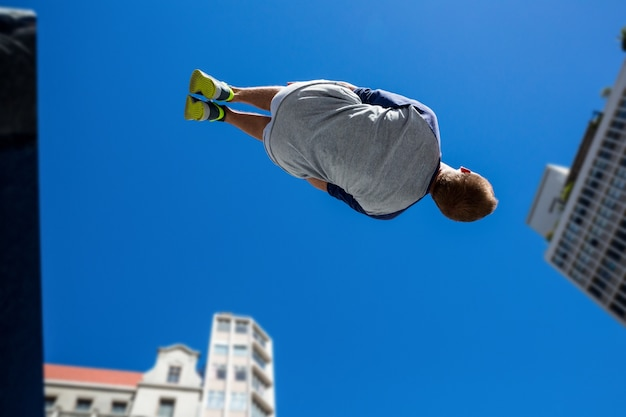 Extreme athlete jumping in the air