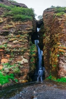 Extreme beautiful waterfall gljufrafoss