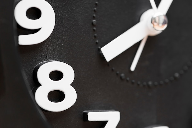 Extreme close-up of clock showing 8'oclock