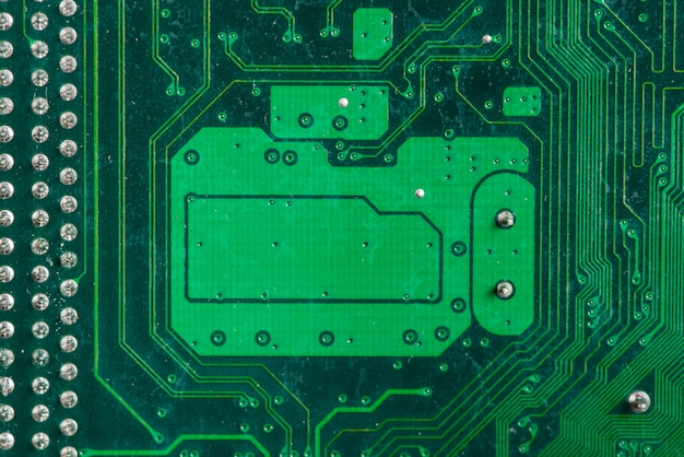 Extreme close-up of a computer circuit board