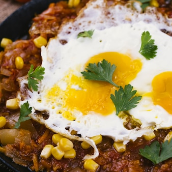 Extreme close up eggs on mexican food