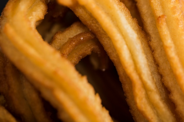 Extreme close-up fried churros