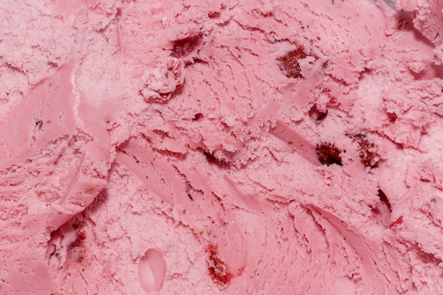 Extreme close-up strawberry ice cream with copy space