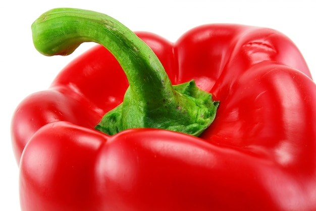 Extreme closeup of colored red paprika isolated