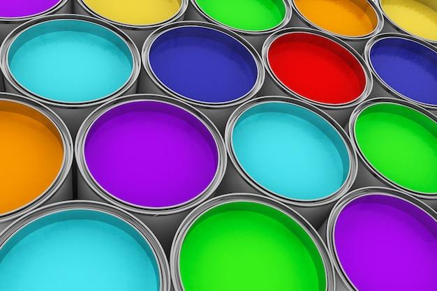 Набор банок с красочными красками