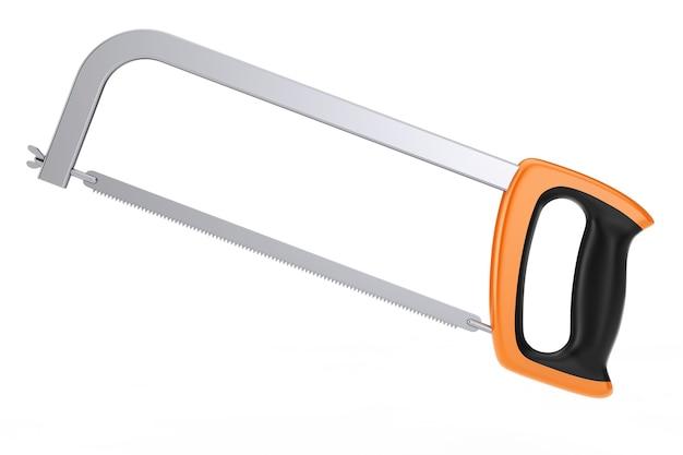 白い背景の上の極端なクローズアップ弓のこ。 3dレンダリング。