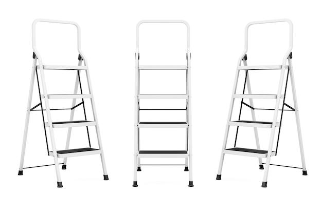 Экстремальные лестницы крупным планом на белом фоне