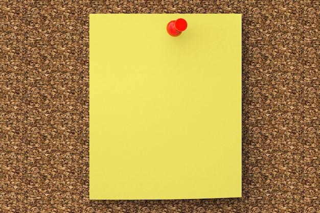 コルクボードに固定された極端なクローズアップノート紙