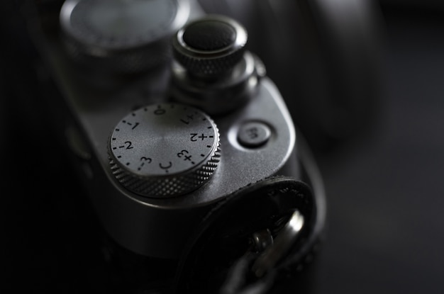 Extreme closeup of a professional camera slider shot in black and white