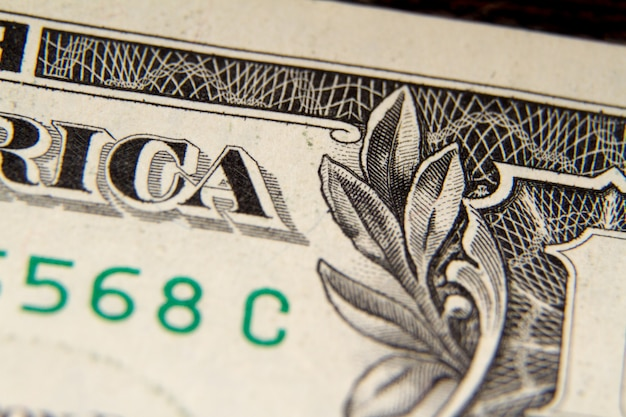 Extreme macro shot of a one dollar bill, selective focus