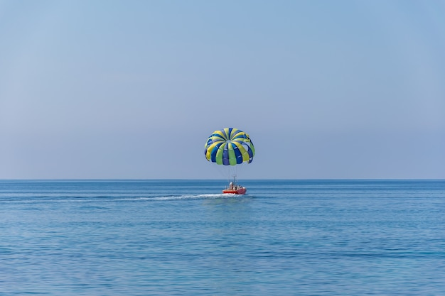 Extreme pleasure on the surface of the calm sea.