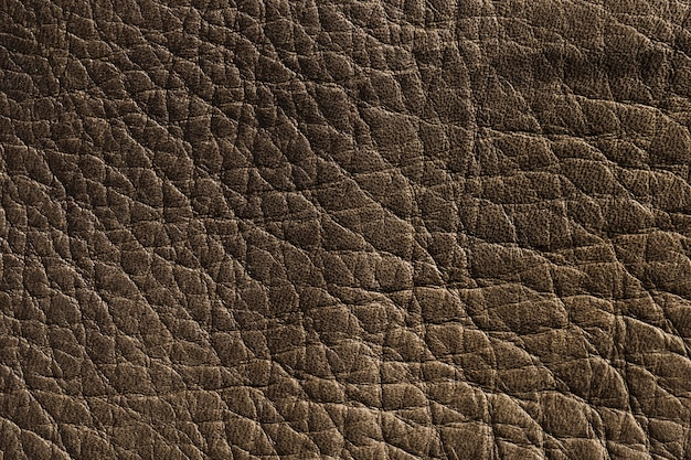 Extremely close-up dark brown leather texture background surface