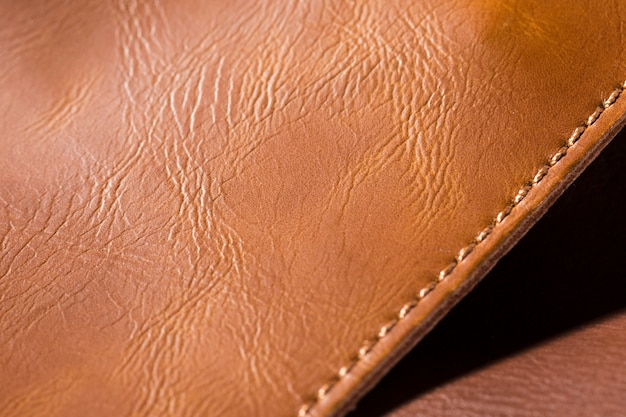 Extremely close-up quality leather and shadow