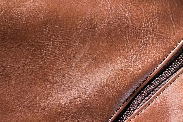 Pelle di qualità estremamente ravvicinata con cerniera