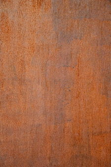 Extremely close-up rusty brown iron wall