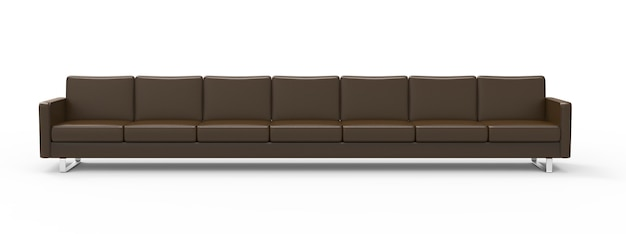 Extremely long brown leather sofa isolated on white background 3d rendering