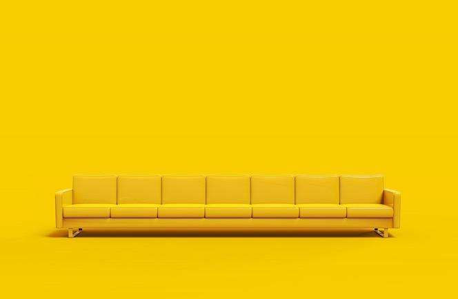 매우 긴 노란색 가죽 소파 노란색 배경에 고립. 3d 렌더링