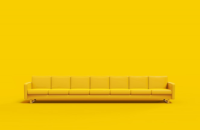 Extremely long yellow leather sofa isolated on yellow background. 3d rendering