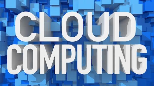 立方体で満たされた青い抽象的な背景を持つ押し出しクラウドコンピューティングテキスト