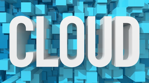 立方体で満たされた青い抽象的な背景を持つ押し出しクラウドテキスト