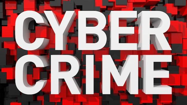 立方体で満たされた青い抽象的な背景を持つ押し出しサイバー犯罪テキスト