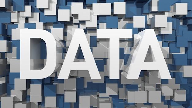 立方体で満たされた青い抽象的な背景を持つ押し出しデータテキスト