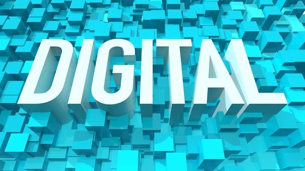 立方体で満たされた青い抽象的な背景を持つ押し出しデジタルテキスト