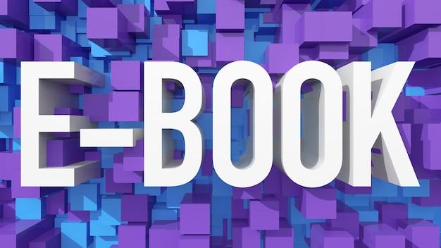 立方体で満たされた青い抽象的な背景を持つ押し出し電子ブックテキスト