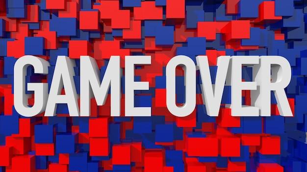 立方体で満たされた青い抽象的な背景を持つ押し出しゲームオーバーテキスト