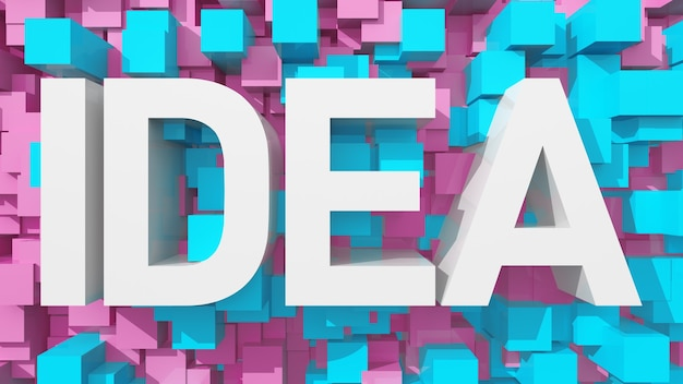 立方体で満たされた青い抽象的な背景を持つ押し出しアイデアテキスト