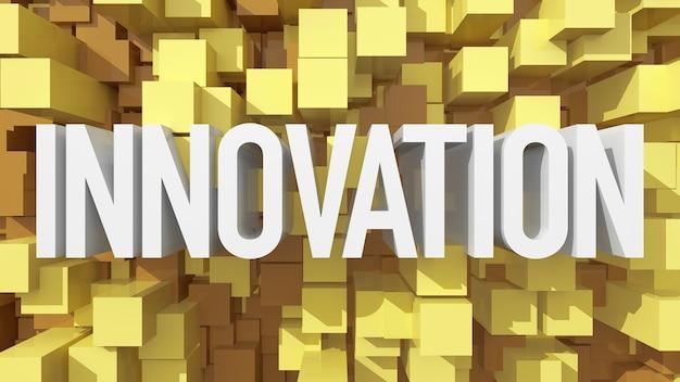 立方体で満たされた青い抽象的な背景を持つ押し出しイノベーションテキスト