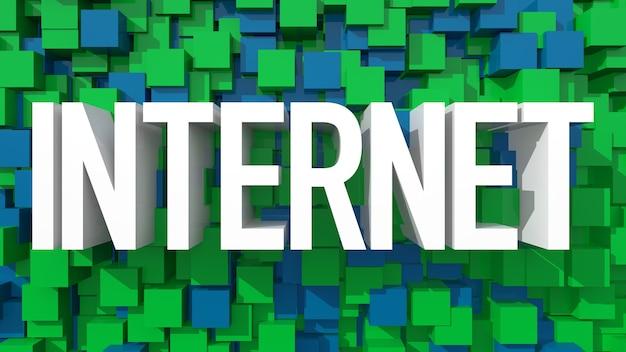 立方体で満たされた青い抽象的な背景を持つ押し出しインターネットテキスト
