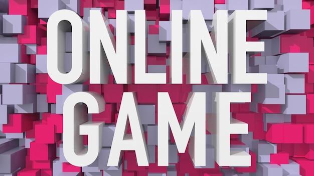 立方体で満たされた青い抽象的な背景を持つ押し出しオンラインゲームのテキスト