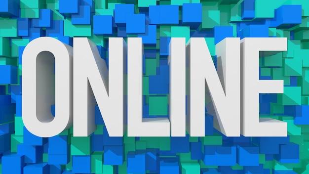 立方体で満たされた青い抽象的な背景を持つ押し出しオンラインテキスト
