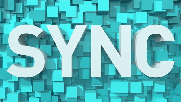 立方体で満たされた青い抽象的な背景を持つ押し出しsyncテキスト