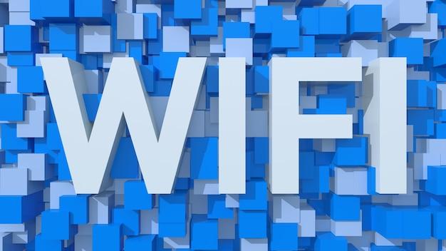 立方体で満たされた青い抽象的な背景を持つ押し出しwi-fiテキスト
