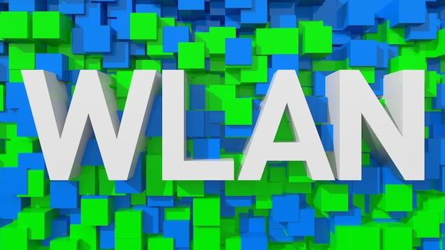 立方体で満たされた青い抽象的な背景を持つ押し出しwlanテキスト