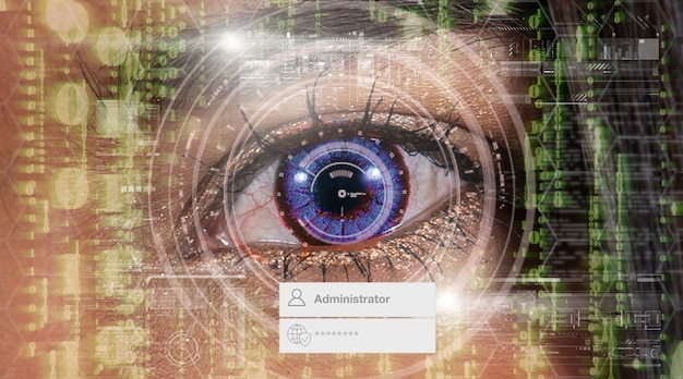 Eye authentication with administrator and password over closeup women