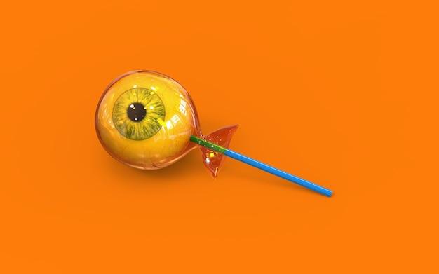 Eye ball halloween candy on orange background
