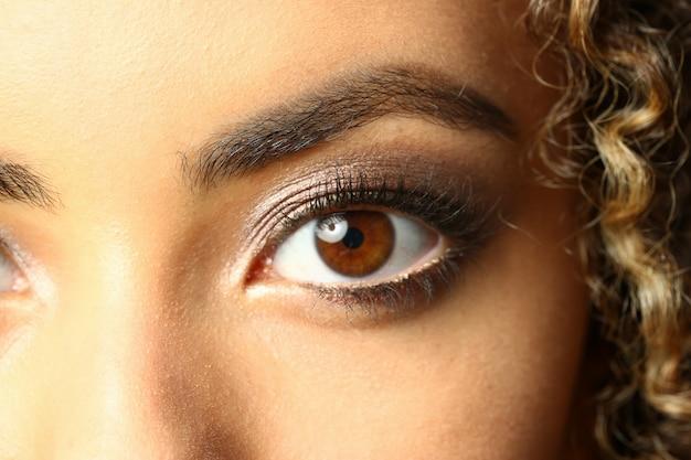 Eye of a black woman shot large macro beauty