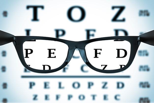 Глазная карта или проверка зрения через очки на белом фоне. 3d рендеринг