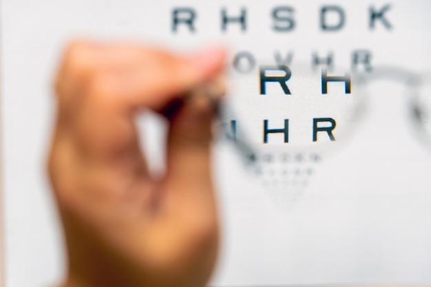 眼鏡を通して見た視力検査表