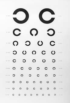 Eye examination chart used for visual acuity testing