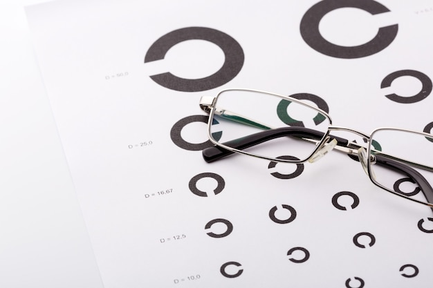 Eye examination chart with glasses on it