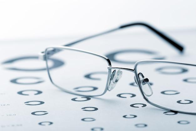 Eye examination chart with glasses