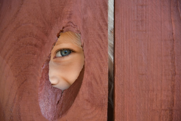 The eye of the girl looks through a hole in the fence.