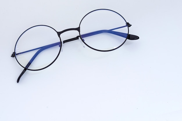 Eye glasses on white background. copy space